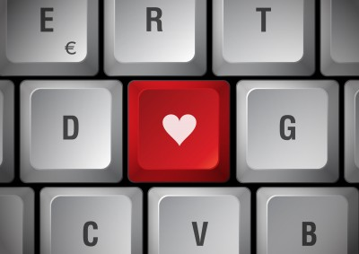 keyboard with heart key for soul mate love